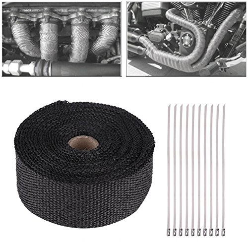 Daphot-Store - 16FT Length Exhaust Header Pipe TapBlack High Heat Insulation Exhaust Pipe Wrap Tape Cloth for Car Motorcycle Exhaust Pipe Wrap