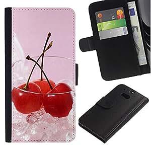 Ihec-Tech / Flip PU Cuero Cover Case para HTC One M8 - Fruit Macro Ice Cherry
