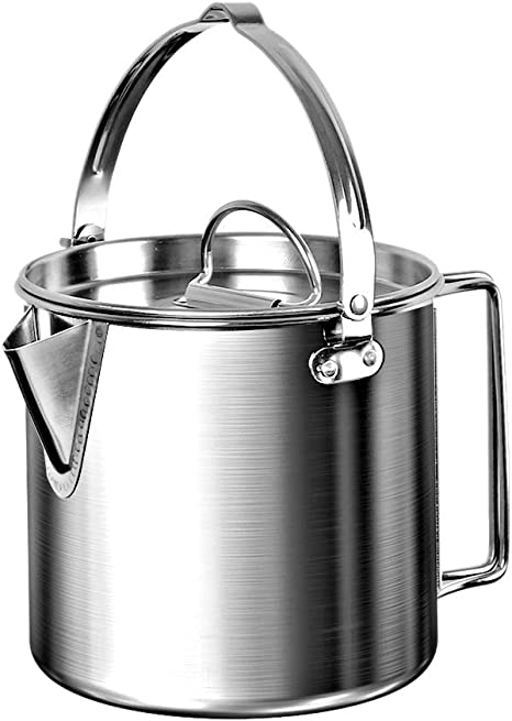 Donnagelia 1.2L Stainless Steel Teapot Coffee Pot Cooking Kettle with Lid and Foldable Handle for Camping Hiking Fishing Picnic
