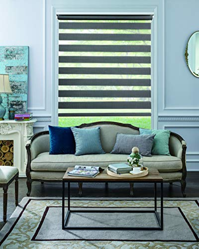BERYHOME Horizontal Window Shade Blind Zebra Roller Blinds Day and Night Blinds Curtains,Easy to Install.