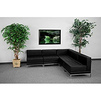 Flash Furniture HERCULES Imagination Series Black Leather Sectional Configuration, 5 Pieces