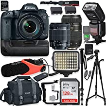 Canon EOS 7D Mark II DSLR Camera (Wi-Fi) w/ 18-55mm Lens + Tamron 70-300mm Lens + Pro Photo/Video Accessories Including 128GB Memory, Speedlight TTL Flash, Battery Grip, LED Light, Micorphone & More