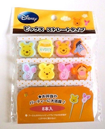 Disney Winnie the Pooh Food Picks (Straight type) Bento Lunch Box Accessory 8 pcs from Japan