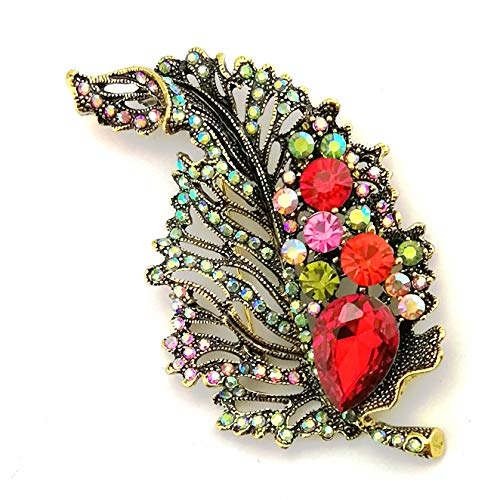 (LAXPICOL Elegant Vintage Big Sparkly Colorful Rhinestone Red Crystal Leaf Brooch Pin for Women)