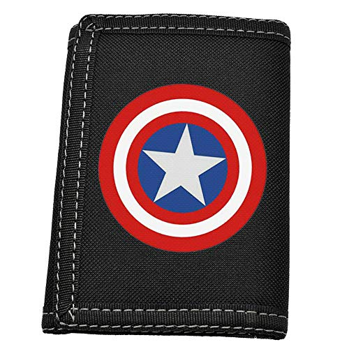 Men's or Boys' Slim Wallet Large Capacity Classic Black Waterproof Nylon Fabric 3 Fold Wallets