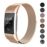 SWEES Metal Bands Compatible Fitbit Charge 2, Replacement Small (5.5'' - 8.5'') Stainless Steel Metal Magnetic Wristband Watch Band Women, Black, Rose Gold, Silver, Colorful
