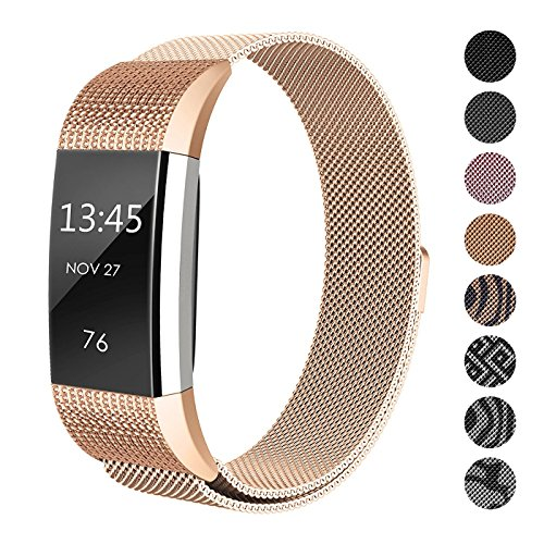 SWEES Metal Band for Fitbit Charge 2 Bands?Milanese Loop Stainless Steel Magnetic Wristband Bands for Fitbit Charge 2 Small Women, Black, Rose Gold, Silver, Colorful, Rose Gold