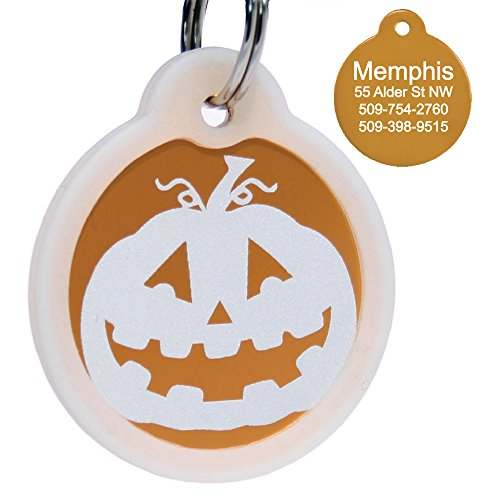 (Halloween Dog Tag Personalized w/ 4 Lines of Custom Engraved Text. Holiday Dog Collar ID Tags Come w/Glow in The Dark Silencer to Protect Tag &)