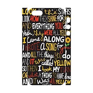 3D IPhone 5,5S Case Coldplay Yellow ,Song Lyric Typography Poster, IPhone 5,5S Case Coldplay, [White]