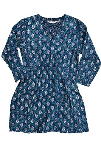 Ayurvastram KRITI Hand Block Printed Cotton V Neck Tunic: Indigo Teal 3X