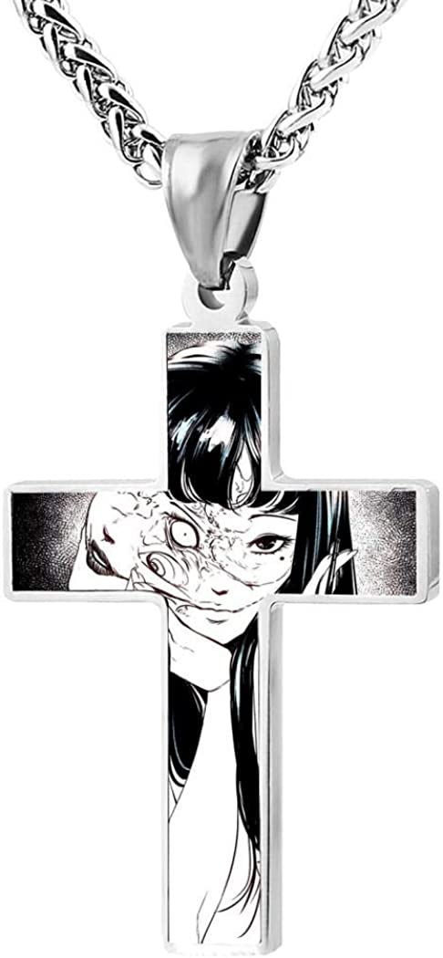 Addsomeing To-kyo Gh-oul Jewelry Cross Pendant Necklace Zinc Alloy Unisex Faith Pendant Gift for Men Women