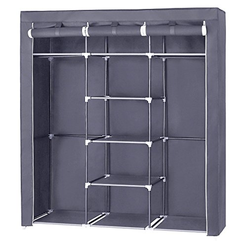 SONGMICS Portable Clothes Closet Non-Woven Fabric Wardrobe Double Rod Storage Organizer Grey 59-Inch URYG12GY