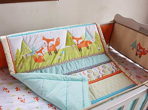 NAUGHTYBOSS Baby Bedding Set Cotton 3D Embroidery Prairie Fox Quilt Bumper Bedskirt Fitted Blanket 8 Pieces Color Matching by NAUGHTYBOSS (Image #4)