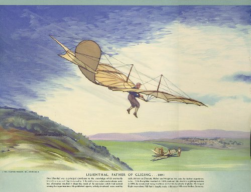 (Otto Lilienthal Father of Gliding 1893 Hubbell calendar print 1952)