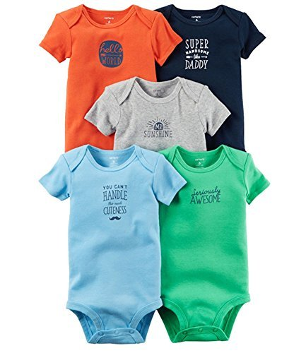 Carter's Baby Boys 5-Pack Mr. Sunshine Bodysuits 3 Months