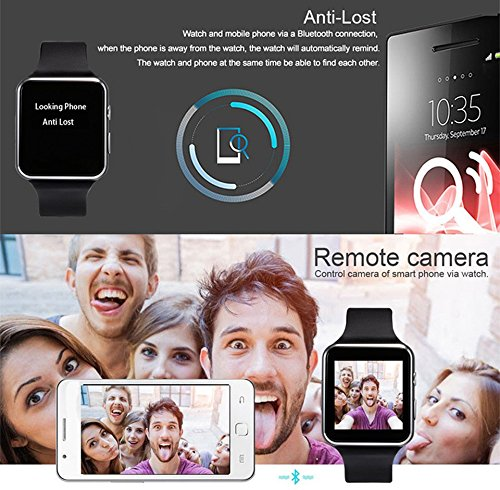2018 Newest Bluetooth Smart Watch Touchscreen with Camera,Unlocked Watch Phone with Sim Card Slot,Smart Wrist Watch,Smartwatch Phone for Android Samsung S9 S8 IOS Iphone 8 7S Men Women Kids (BLACK) by JAVENSMARTEQT (Image #6)