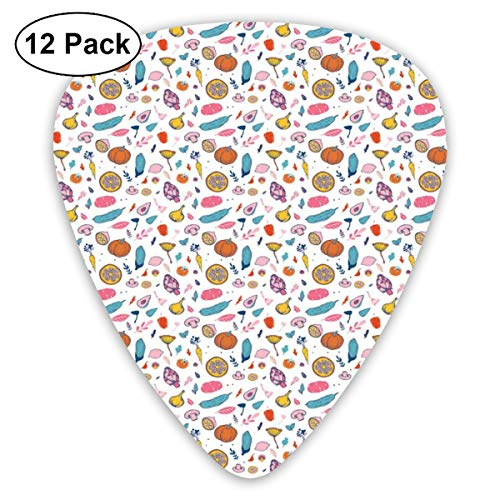 Guitar Picks 12-Pack,Sweet Colorful Abstract Food Pattern With Mushroom Garlic And Artichoke Design