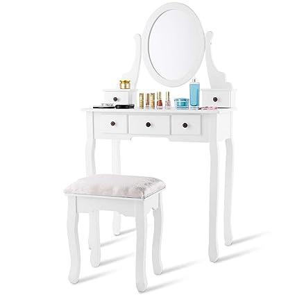 Giantex White Bathroom Vanity Jewelry Makeup Dressing Table Set W Stool Mirror Wood Desk 5 Drawers