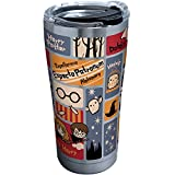 Tervis 1293207 Harry Potter-Charms Tiles Insulated Tumbler with Clear and Black Hammer Lid, 20 oz Stainless Steel, Silver