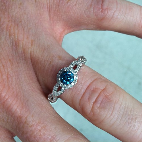 34ct pave halo blue diamond engagement ring 14k white gold amazoncom - Blue Diamond Wedding Rings