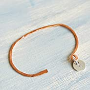 Initial L Charm Bracelet in Copper and Sterling Silver