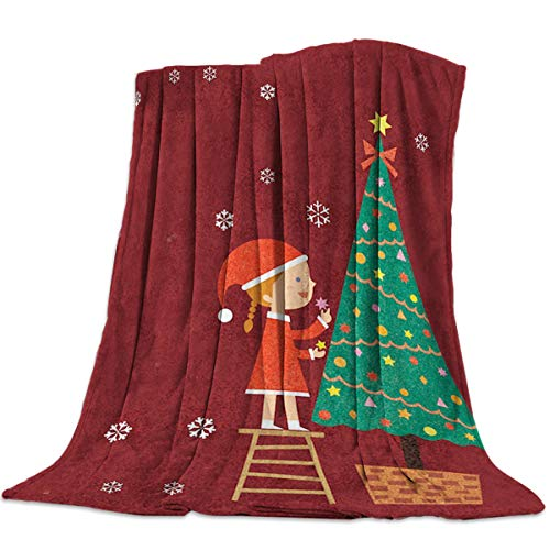 Singingin A Girl is Dressing Up The Christmas Tree Flannel Throw Blanket Super Soft Warm Snuggle Stadium Blanket for Couch Chair Sofa and Bed Everyday Use 49