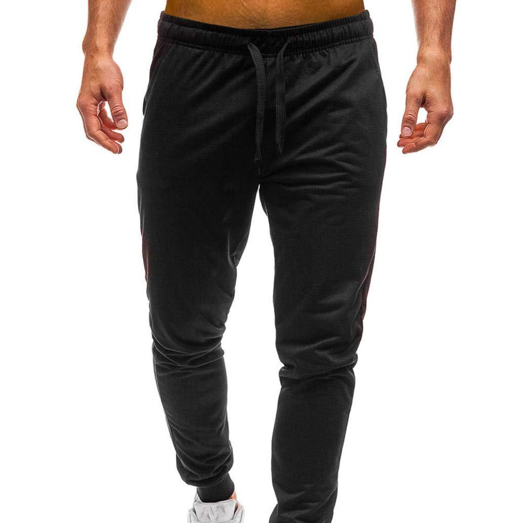 PASATO Men Pure Color Pocket Overalls Casual Pocket Sport Work Casual Trouser Classic Cotton Pants(Black, XL)