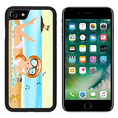 [MSD Premium Apple iPhone 7 Aluminum Backplate Bumper Snap Case iPhone7 girl with headphone music on the beach Image ID] (Neo Costumes Sunglasses)