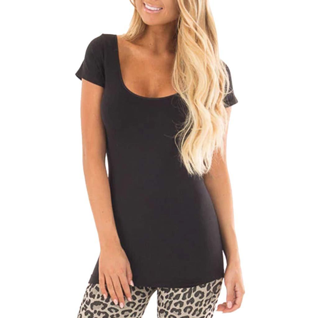 KIKOY Summer Women's Solid Short Sleeve O Neck Casual Tunic Blouse Basic T-Shirt