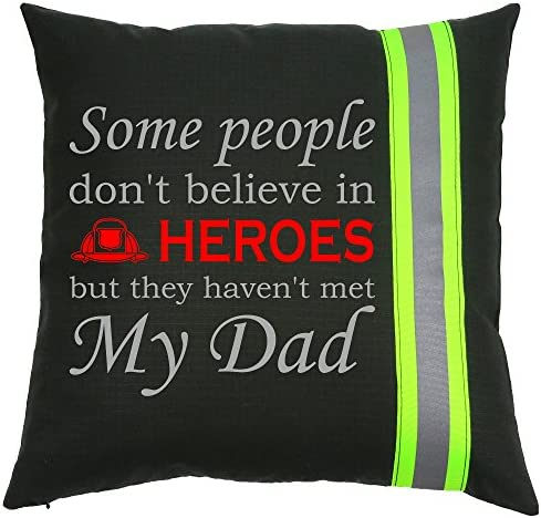 Fully Involved Stitching Firefighter Black Dad Hero Throw Pillow