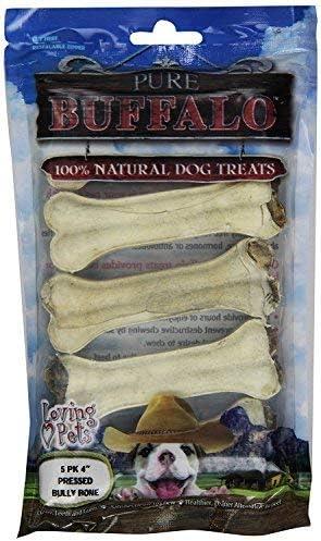 Loving Pets Pure Buffalo 4-Inch Pressed Bully Bone Dog Treat, 10-Pack