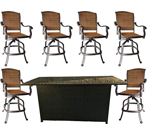 - 7 Piece Fire Pit Patio Dining Outdoor Bar Set Santa Clara Swivels Barstools Propane Table Cast Aluminum Wicker Furniture
