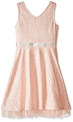Speechless Big Girls' Silver Brocade Tank Dress, Blush, 14 (Silver Brocade Dress)
