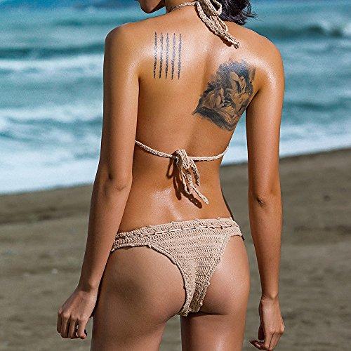 Costumi Intaglio Italily Piscina Mano Maglia Khaki Uncinetto Con Bohemian Costume A Donne Bikini E Up Lavorato Spiaggia Coordinati Halter Push Guscio Intrecciato Bagno Da Mare zgzRx
