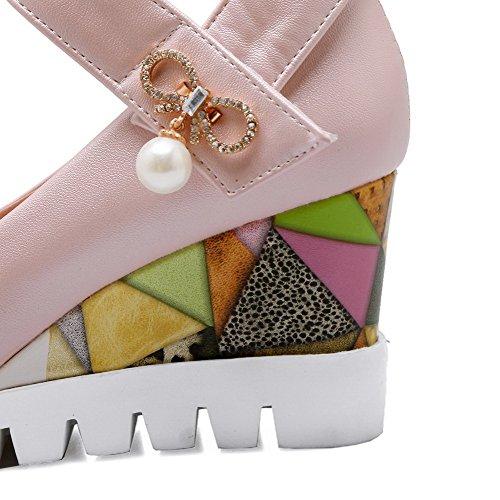 AllhqFashion Damen Weiches Material Rund Zehe Niedriger Absatz Ziehen auf Rein Pumps Schuhe Weiß
