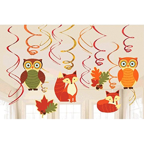 Colors of Fall Thanksgiving Party Woodland Friends Swirl Hanging Decoration, Foil, Pack of 12