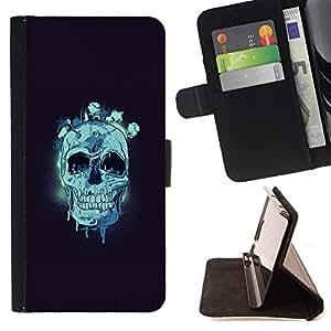 Momo Phone Case / Flip Funda de Cuero Case Cover - Cráneo azul;;;;;;;; - Samsung Galaxy S6