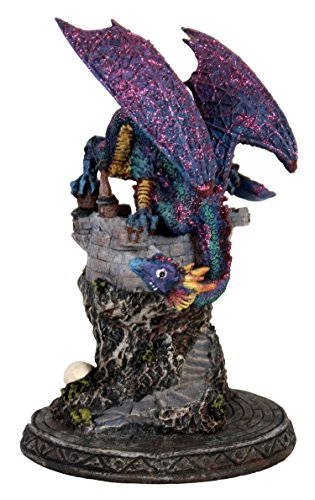 (Enchanting Treasures Hand-Sculpted Polyresin Dragon Guarding Castle 10