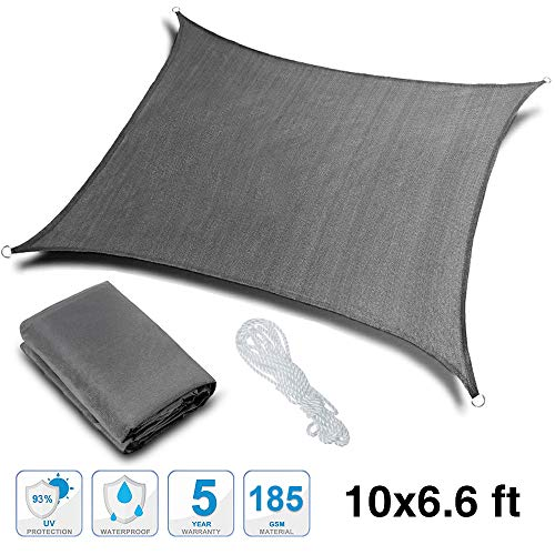 Rovtop Sun Shade Sail – 10 x 6.6 ft 93 UV Block Square Waterproof Outdoor Garden Patio Yard Party Sunscreen Awning Canopy with Free Rope