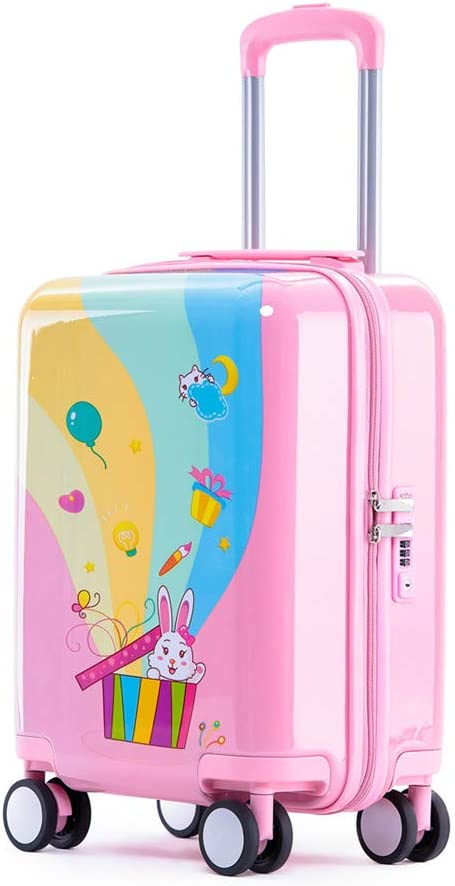 """Rabbit Gift, 18in 18/"""" Children Rolling Luggage Carry on Cases Pink Rabbit Kids Rolling Suitcase with Wheels Unisex Toddler TSA Lockable Boarding Case for Boys and Girls"""