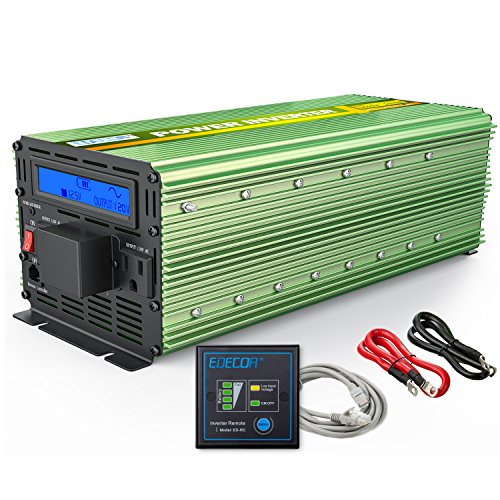 EDECOA Pure Sine Wave Power Inverter 2500W Peak 5000W DC 12V to 110V AC with LCD display and Remote Controller (Inverter 2500w)