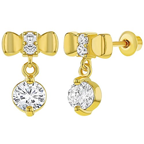 18k Gold Plated Crystal Bow Screw Back Dangle Earrings for Girls