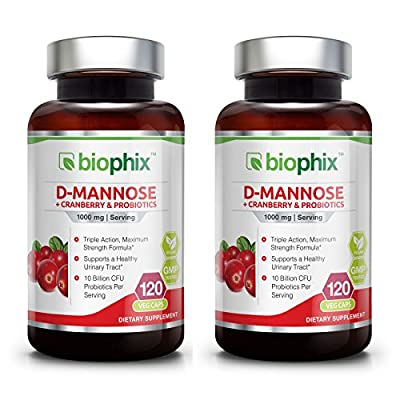 D-Mannose Plus Cranberry and Probiotics 1000 mg 120 Vcaps 2 Pack - Urinary Tract Health from Biophix