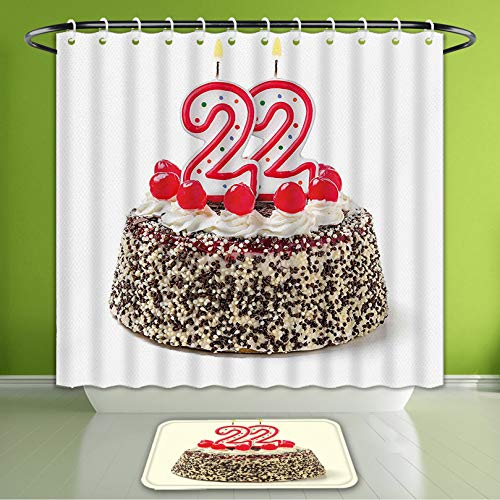 Waterproof Shower Curtain and Bath Rug Set 22Nd Birthday Decorations Chocolate and Cake with Cherries and Candles Festive Year Display MUL Bath Curtain and Doormat Suit for Bathroom 66