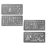 Gosear 4PCS Steel Nail Art Stamping Plates Set Nail Art Polish Stamping Manicure Plates