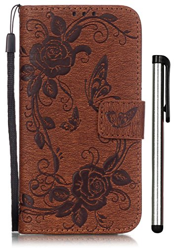 Max White Tripod Series Tripod (Samsung Galaxy S7 Full Body Case Leather Brown Wallet Magnet Book Cover Cell Phone Accessories with Stand 3 Credit Card Holders Cash Slot Wrist Strap Handmade Embossed Fashion Butterfly Flower G9300)