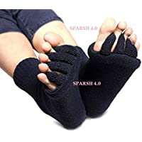 'SPARSH 4.0' Toe Spreader Foot Alignment Socks Yoga Massage Five Toe Separator Socks Foot Alignment Pain Relief Hot (1 Pair). Random Color.