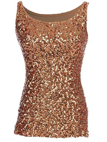 Anna-Kaci Womens Sparkle & Shine Glitter Sequin Embellished Sleeveless Round Neck Tank Top