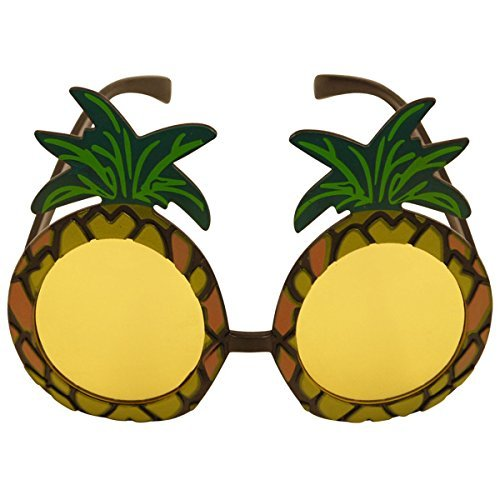 1 x Pineapple Sunglasses Glasses Specs Hawaiian Hula Fancy Dress Up Costume Accessory Partyrama U09-562-HNB