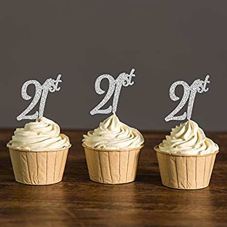 Amazon Com Areena Shop Twenty First Cupcake Toppers 21st Birthday Party Picks Decoration Favors Cake Decorations Supplies Toys Games